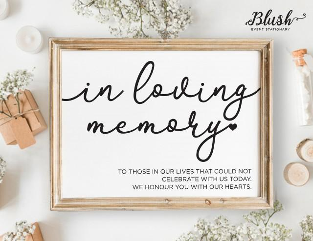 NEW! In Loving Memory Wedding Sign