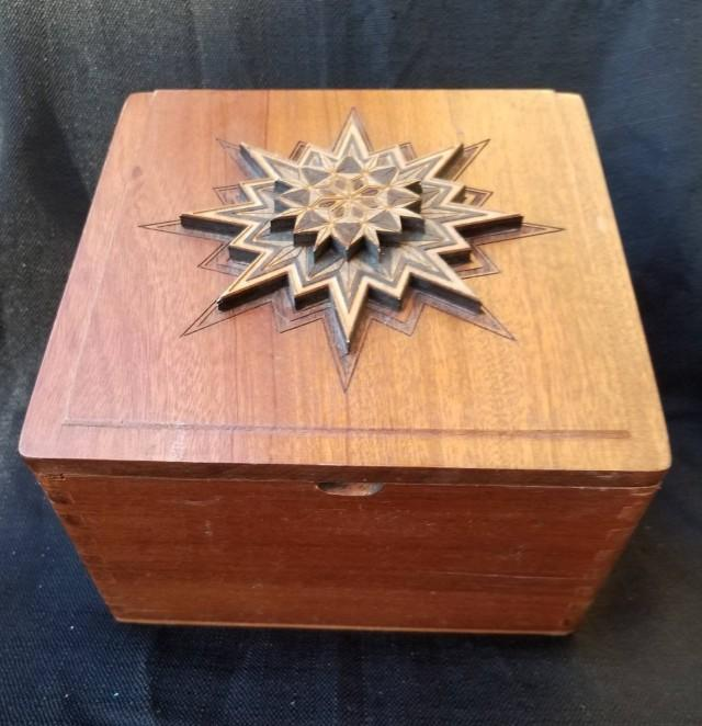 Project OhmStead's Up-cycled cigar box engraved geometrical layers. Gift wedding groom centerpiece festival stashbox cbd essential oils weed