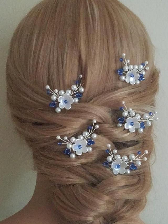wedding photo - Bridal White Blue Hair Pins, Set of 5 Wedding Hair Pins, Bridal Hair Jewelry, Pearl Sapphire Blue Crystal Hair Pieces, Bridal Headpieces