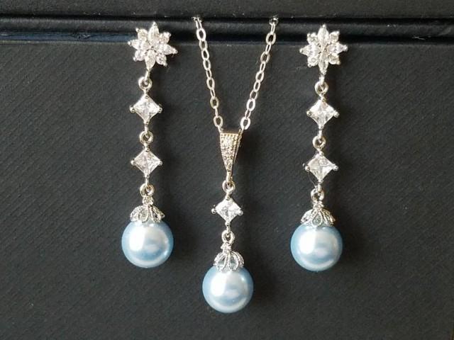 wedding photo - Blue Pearl Jewelry Set, Swarovski Light Blue Pearl Silver Set, Bridal Pearl Earrings&Necklace Set, Pearl Dainty Jewelry Set, Blue Earrings