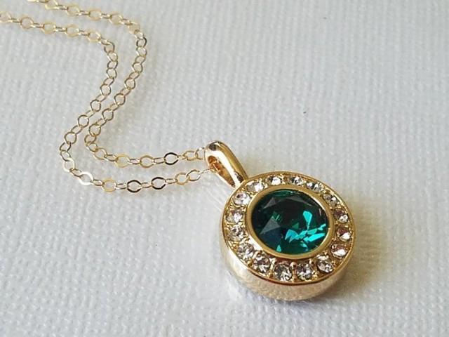 wedding photo - Green Halo Gold Necklace, Swarovski Emerald Crystal Pendant, Wedding Green Round Necklace, Emerald Necklace, Gold Emerald Crystal Jewelry