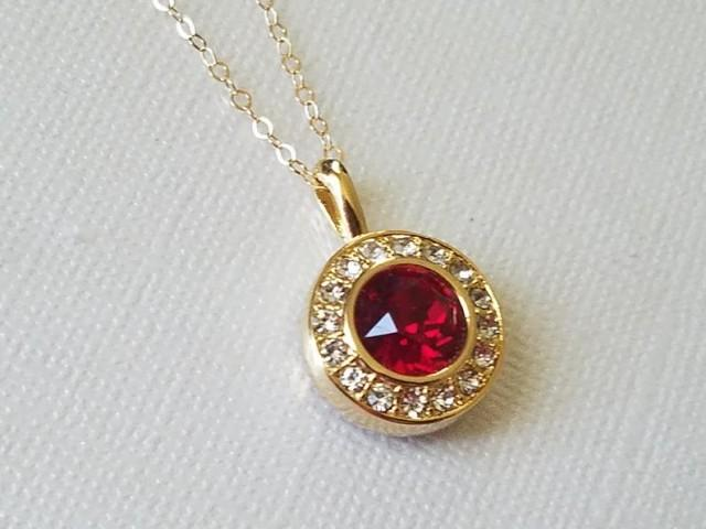 wedding photo - Red Crystal Gold Necklace, Swarovski Siam Halo Pendant, Wedding Red Gold Necklace, Red Round Pendant, Wedding Red Jewelry, Dark Red Pendant