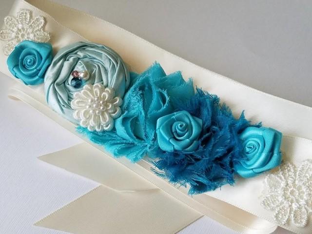 wedding photo - Turquoise Aqua Ivory Flower Girl Sash, Teal Blue Ivory Satin Belt, Flower Girl Dress Sash, Wedding Blue Turquoise Rustic Sash, Girls Belt