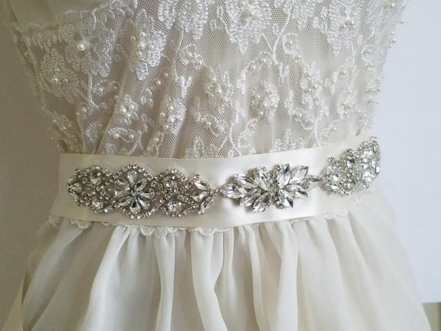 wedding photo - Wedding Bridal Sash, Ivory Satin Rhinestone Belt, Wedding Dress Belt, Crystal Sash Belt, Bridal Sash Belt, Dress Sash, Wedding Ivory Belt