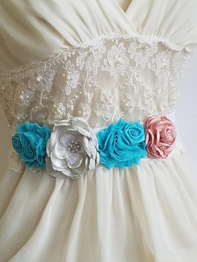 wedding photo - Turquoise Coral White Wedding Sash, Bridal Rustic Sash, Double Faced Satin Belt Light Teal Coral White Maternity Sash Flower Girl Dress Sash
