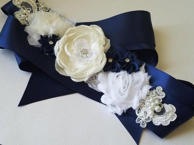 wedding photo - Navy Blue White Wedding Sash, Floral Rustic Flower Girl Sash, Maternity Blue Sash, Navy Blue Dress Sash, Blue Satin White Flower Bridal Belt