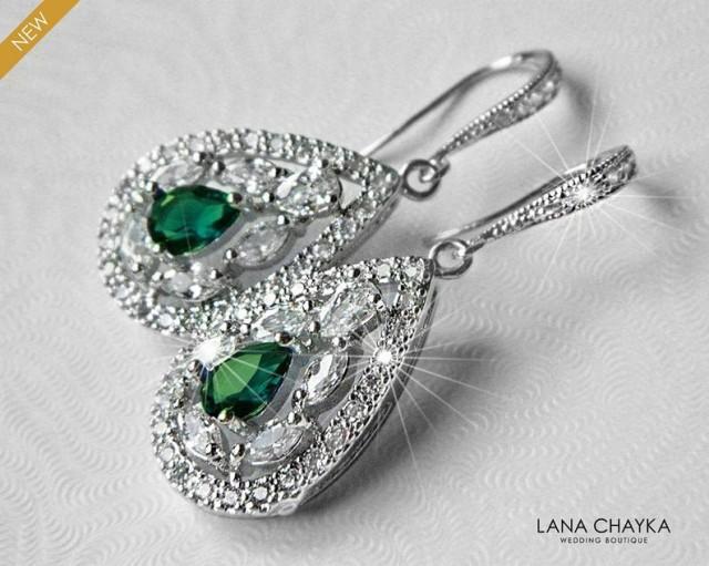 wedding photo - Emerald Crystal Bridal Earrings, Green Cubic Zirconia Wedding Earrings, Emerald Teardrop Sparkly Earrings, Emerald CZ Chandelier Earrings