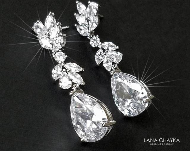 wedding photo - Crystal Chandelier Bridal Earrings, Cubic Zirconia Wedding Earrings, Sparkly Silver Dangle Earrings, Bridal Jewelry, Statement CZ Earrings