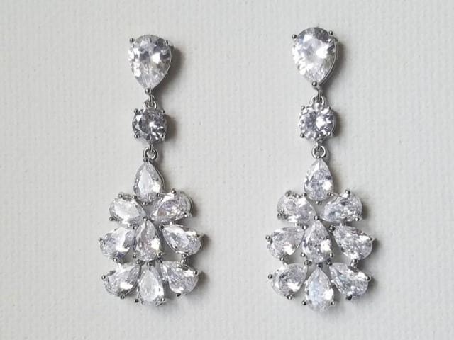 wedding photo - Bridal Cubic Zirconia Earrings, Chandelier Crystal Wedding Earrings, Clear CZ Dangle Earrings, Sparkly Silver Earring, Statement Earrings