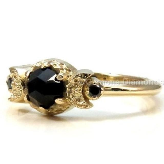 wedding photo - Crescent Moon Black Diamond Engagement Ring
