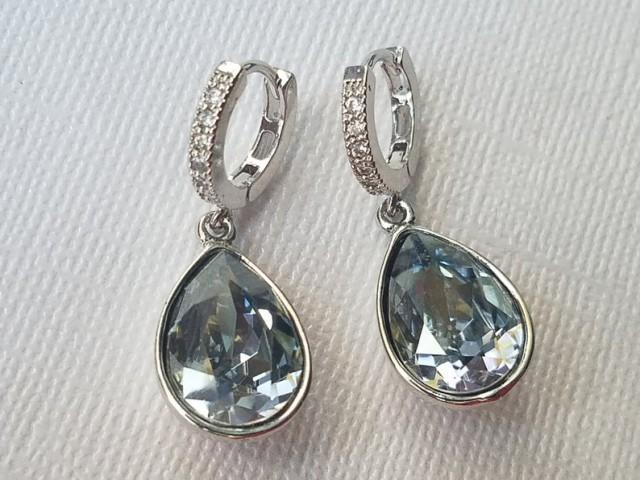 wedding photo - Dusty Blue Crystal Hoop Earrings, Pastel Blue Teardrop Silver Earrings, Swarovski Blue Shade Dangle Earrings, Blue Wedding Bridal Jewelry