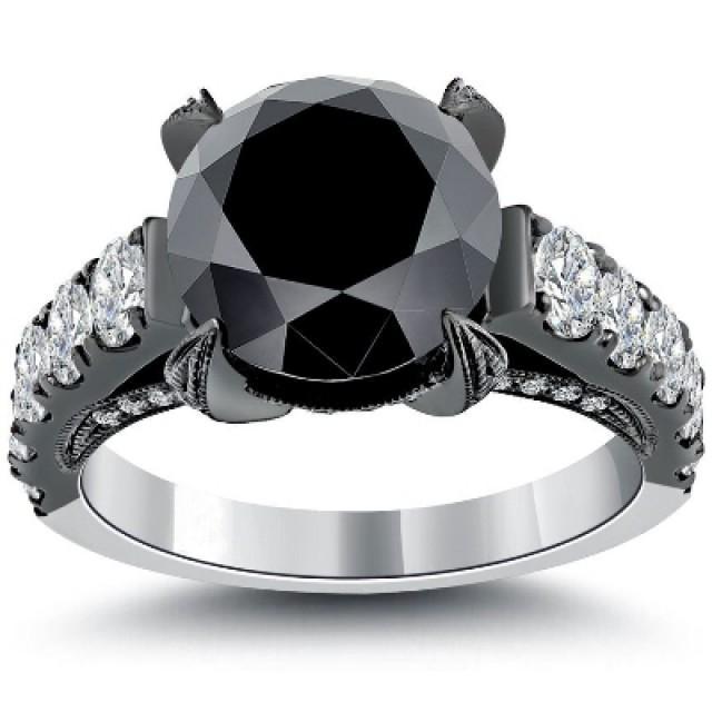wedding photo - Buy Vintage Black Engagement In Huge 5.53 Carat Diamond