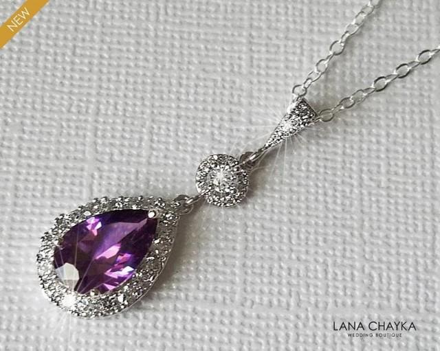 wedding photo - Amethyst Cubic Zirconia Bridal Necklace, Purple Crystal Silver Pendant, Wedding Amethyst Halo Teardrop Necklace, Bridal Purple Jewelry