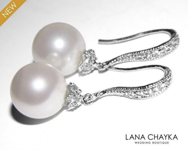 wedding photo - White Pearl Silver Earrings, Pearl Drop Bridal Earrings, Swarovski 10mm Pearl Earrings, Bridal Jewelry, Pearl Dangle Earring Wedding Jewelry