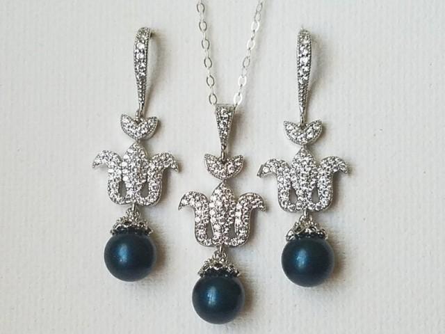 wedding photo - Peacock Pearl Jewelry Set, Swarovski Petrol Pearl Silver Set, Wedding Dark Teal Earrings Necklace Set, Peacock Pearl Earrings, Teal Pendant