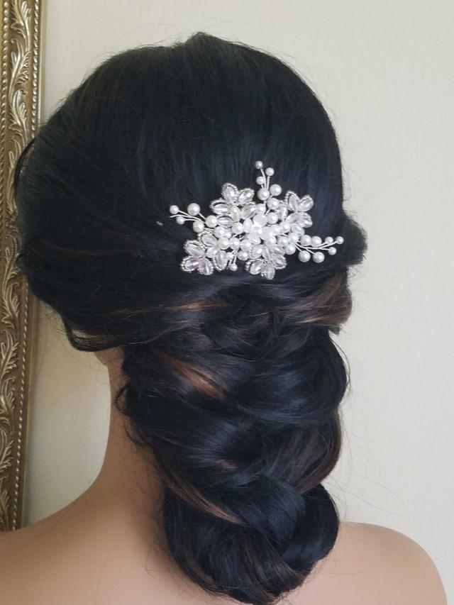 wedding photo - Bridal Pearl Hair Comb, Pearl Crystal Hair Piece, White Pearl Headpiece, Wedding Hair Comb, Bridal Hair Jewelry White Pearl Silver Hairpiece