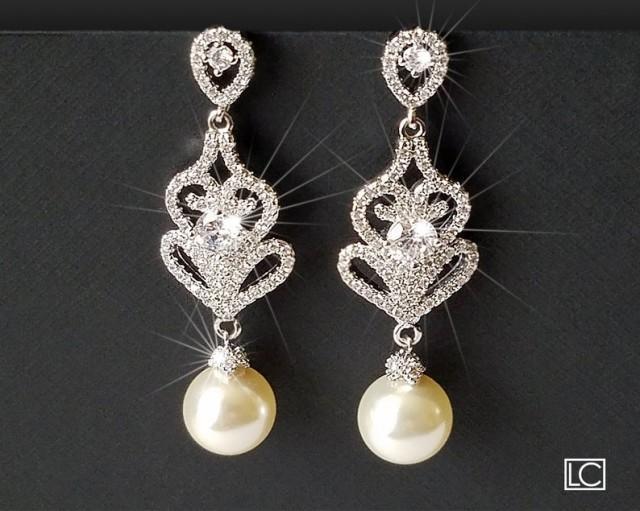 wedding photo - Pearl Chandelier Bridal Earrings, Swarovski Ivory Pearl Dangle Earrings, Pearl Bridal Jewelry, Wedding Pearl Jewelry, Pearl Silver Earrings
