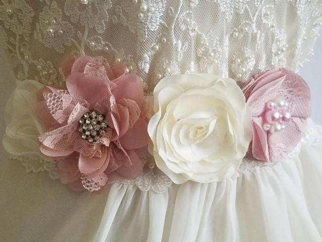 wedding photo - White Blush Pink Wedding Sash, Pastel Pink Flower Sash, Maternity Sash, White Light Pink Bridal Sash, Floral Dress Sash, Bridal Pink Belt