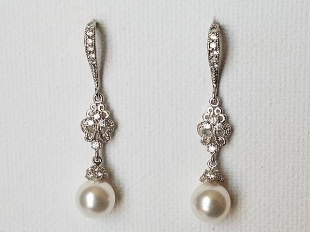 wedding photo - Pearl Bridal Chandelier Earrings, Swarovski 8mm White Pearl Silver Earrings, Wedding White Pearl Jewelry, White Pearl Drop Dangle Earrings