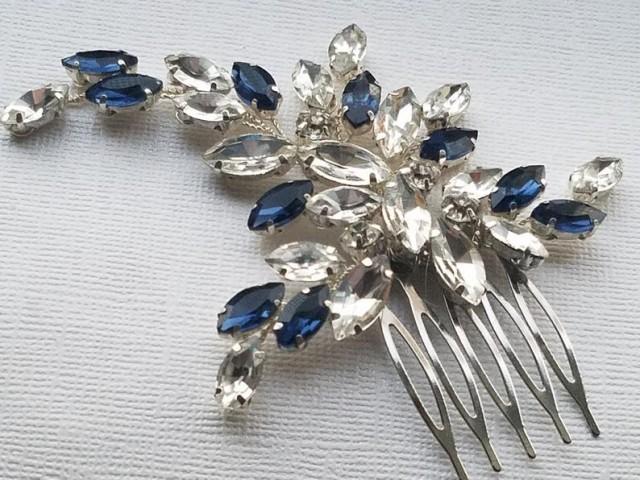 wedding photo - Navy Blue Crystal Bridal Hair Comb, Blue Clear Rhinestone Hair Piece, Dark Blue Crystal Floral Headpiece, Blue Hair Jewelry, Wedding Comb