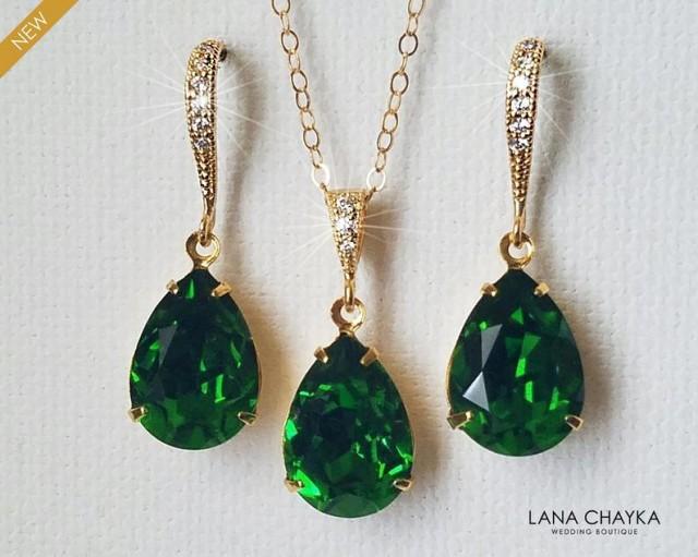 wedding photo - Dark Moss Green Crystal Jewelry Set, Swarovski Green Rhinestone Gold Set, Green Teardrop Bridesmaids Jewelry, Wedding Bridal Green Jewelry