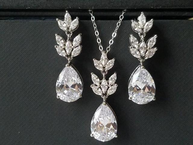 wedding photo - Crystal Bridal Jewelry Set, Wedding Cubic Zirconia Silver Set, Teardrop Crystal Jewelry Set, Bridal Crystal Earrings Bridal Zirconia Pendant