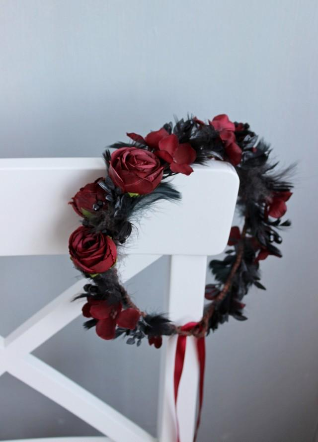 wedding photo - Gothic wedding flower crown, Burgundy black crown, Wedding floral headpiece