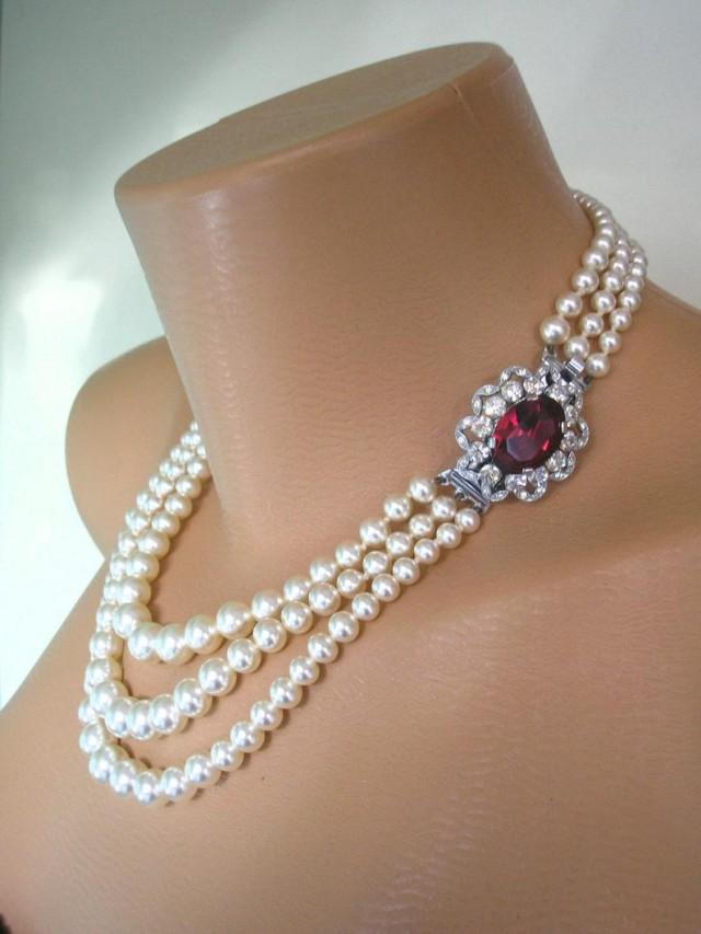 wedding photo - Ruby Necklace, Pearl Choker, Mother of the Bride, Bridal Jewelry, Great Gatsby, 3 Strand, Ruby Choker, Wedding Jewelry, Art Deco, Downton