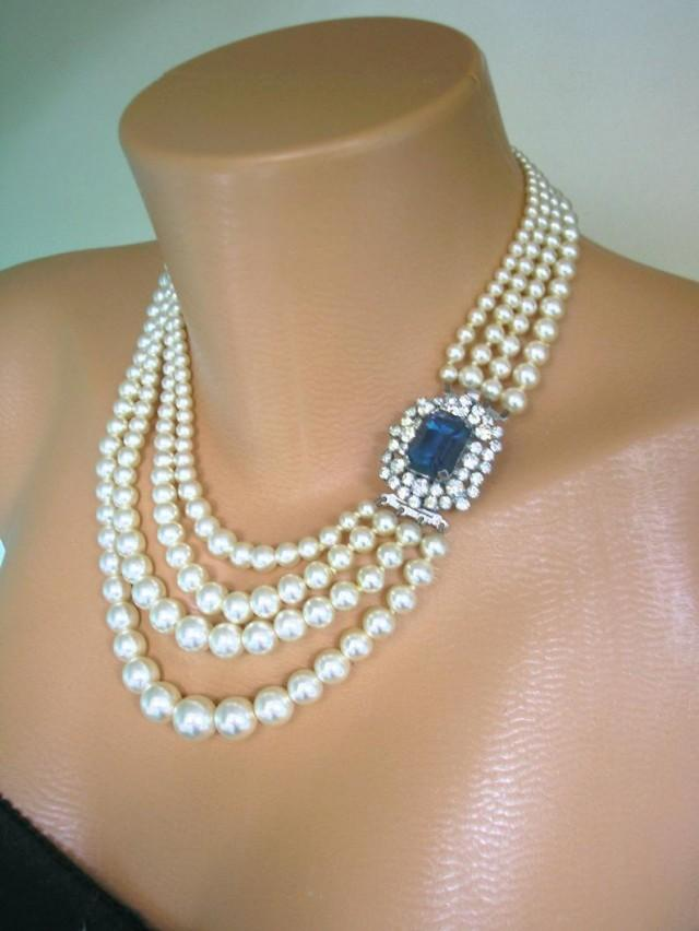 wedding photo - Vintage Bridal Pearls, Vintage Pearl Choker, CHOICE OF COLOURS, 4 Strand Pearl Necklace, Bridal Pearls, Pearls With Side Clasp, Art Deco