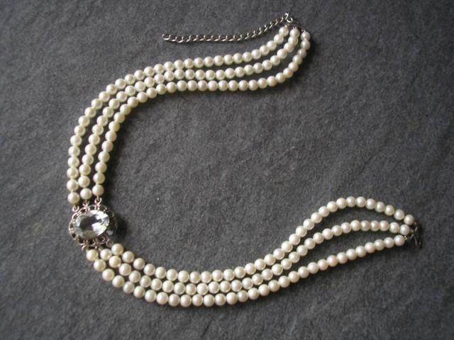 wedding photo - Vintage Pearl Choker, Osaki Pearls, Pearl Choker With Faux Diamond Pendant, 3 Strand Pearls, Ivory Pearls, Silver 839, Bridal Pearls