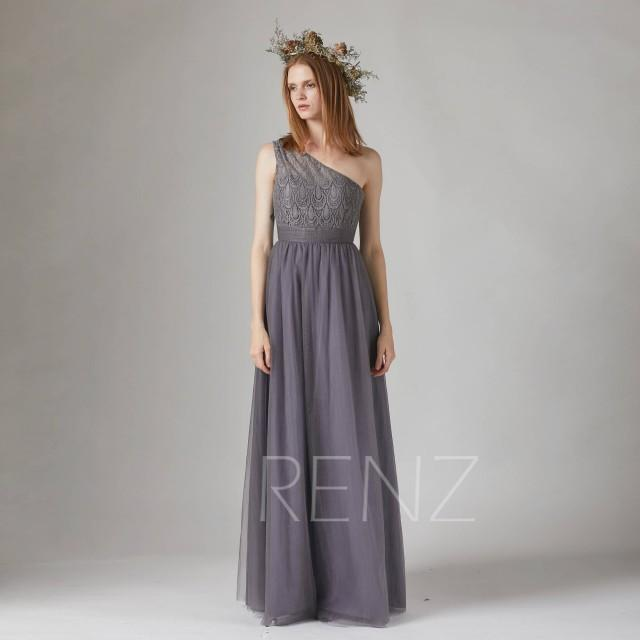 Bridesmaid Dress Charcoal Gray Tulle Wedding Dress Illusion One Shoulder Maxi Dress Sweetheart Party Dress Long A-Line Evening Dress(TS182)