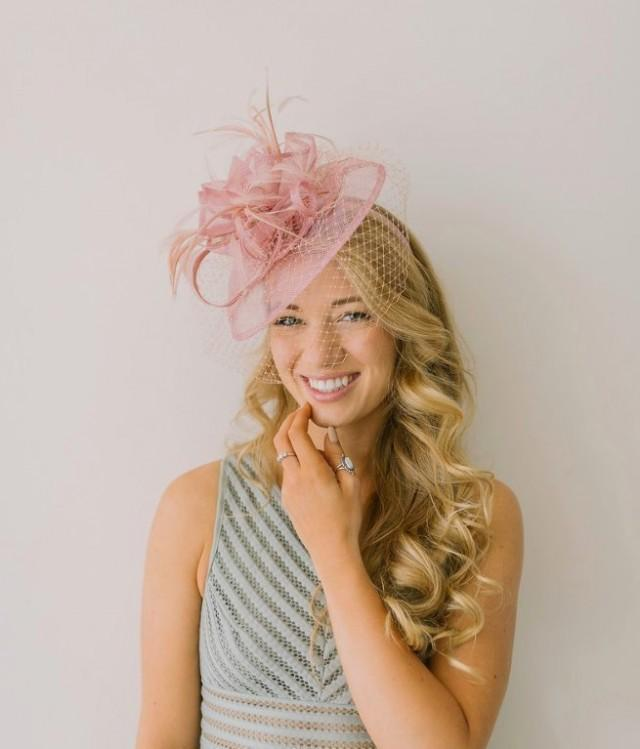 wedding photo - Blush Pink Fascinator, The Brynlee Women's Tea Party Hat, Hat with Veil, Kentucky Derby Hat, Fancy Hat, wedding hat, British Hat