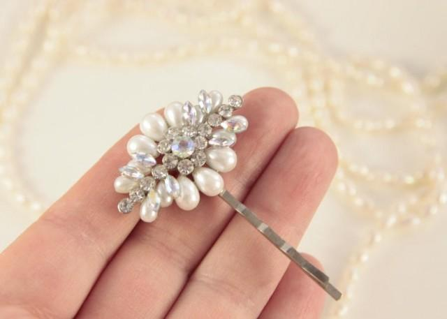 Pearl Hair Pin Crystal Bobby Pins Rhinestone Pearl Head Pin Bridal Hair Pin Bridal Hair Piece Wedding Accessories White Pearls Pearl Clip