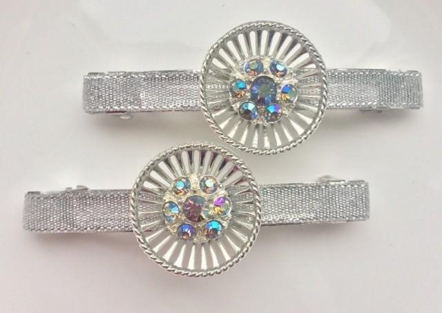 wedding photo - Wedding Barrette Bridal Hair Barrette Crystal Wedding Barrette Vintage Rhinestone Hair Clip Silver Barrette Wedding Hair Piece OOAK Barrette