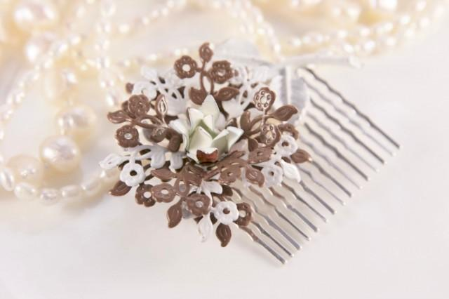 Woodland Wedding Vintage Flower Hair Comb, Enamel Hair Comb, Vintage Hair Comb,  Brown Hair Comb, Bridal Headpiece, Nature Inspired, Floral
