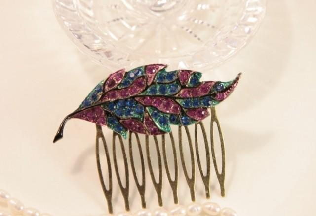Bright Leaf Hair Comb Pink Hair Comb Blue Hair Comb Black Metal Headpiece Leaf Hairpiece Rhinestone Head Comb Leaves Wedding Comb Clip Pin