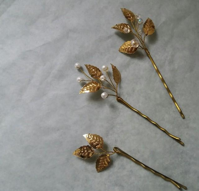 Gold leaf hair pin Beauty the beast Fall wedding hair piece Bridal hair accessory Prom hair comb Flower girl gift bobby pin Bridal shower