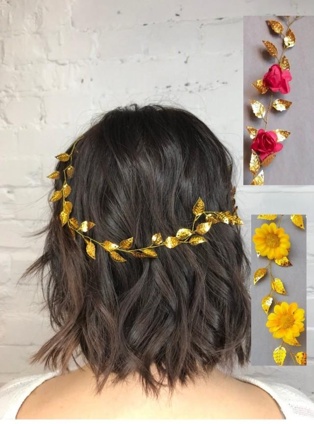 Beauty beast wedding Sunflower crown Flower girl crown red flower Gold leaf hair piece Rose wreath Sunflower crown fall leaves Hair jewelry