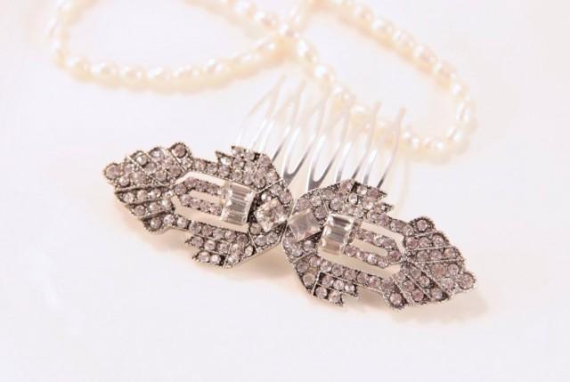 Art Deco Hair Comb, Vintage Bridal Comb, Crystal Silver Hair Comb, Bridal Hair Piece, Art Deco Headpiece, Art Deco Comb,1930s Gatsby Wedding