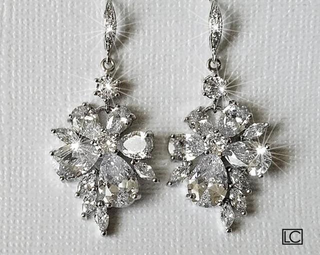 Crystal Bridal Earrings, Cubic Zirconia Chandelier Earrings, Sparkly Floral Crystal Earrings, Wedding Jewelry, Bridal Statement Earrings