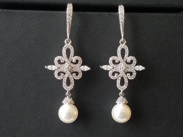 Chandelier Pearl Wedding Earrings, White Pearl Bridal Earrings, Swarovski Pearl Silver Earrings, Pearl Dangle Earrings, Statement Earrings