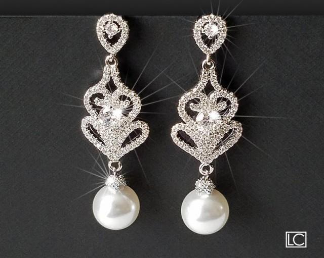 wedding photo - Pearl Chandelier Earrings, Bridal Pearl Earrings, Swarovski White Pearl Silver Earrings, Statement Earrings, Bridal Jewelry, Dangle Earrings