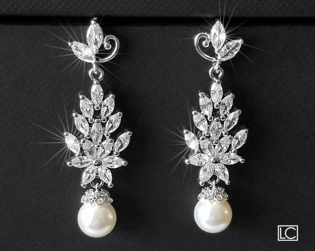 Pearl Bridal Chandelier Earrings, Wedding Pearl Jewelry, Swarovski White Pearl Leaf Cluster Earrings, Marquise Earrings, Statement Earrings