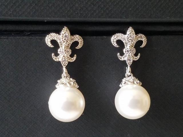Pearl Fleur De Lis Earrings, Swarovski White Pearl Bridal Earrings, Fleur de lis Pearl Silver Earrings, Royal Wedding Pearl Dangle Earrings