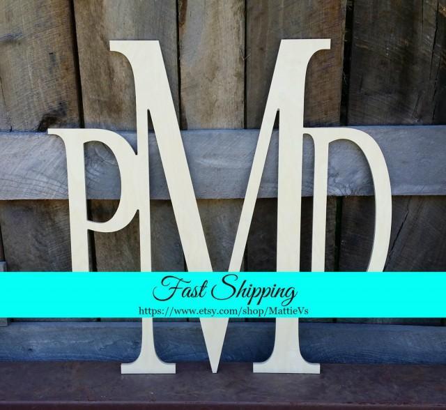 Wooden Initials - Unfinished Vine Script Monogram - Wood Letters - Monogram Home Decor - Monogram Wall Hanging - Monogram Door Hanger