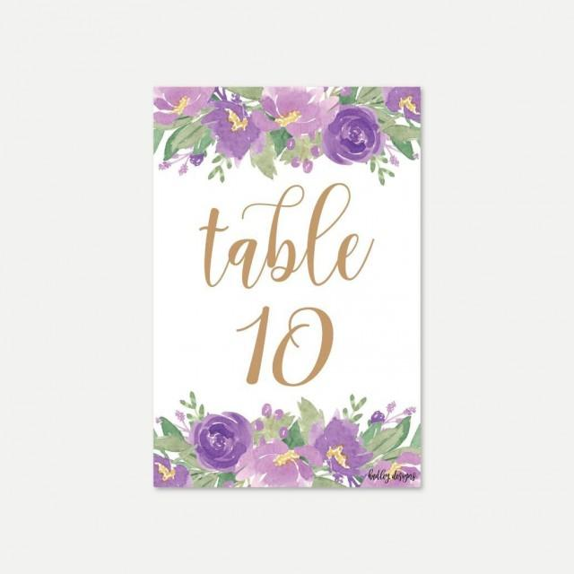 Elegant Purple Floral Wedding Table Numbers Template - DIY Table Numbers for a Wedding, Editable Printable Table Numbers, Digital Downloads