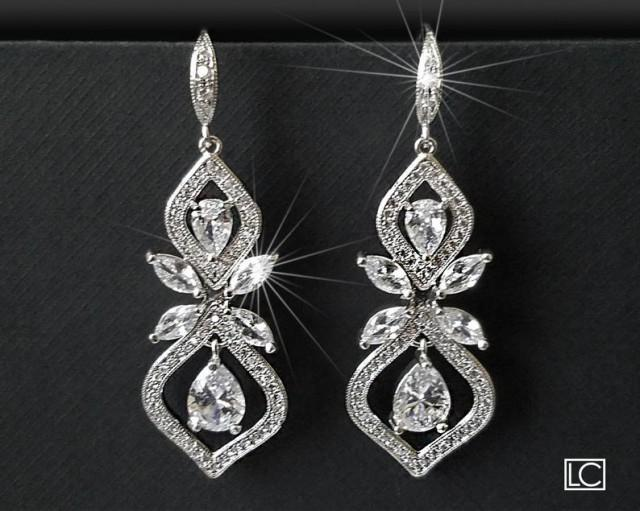 wedding photo - Wedding Crystal Earrings, Bridal Cubic Zirconia Earrings, Chandelier Earrings, Bridal Crystal Jewelry, Crystal Dangle Earrings Vintage Style