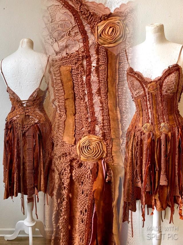 Free spirited dress in burnt orange, Boho dress tattered look , Warrior outfit ,