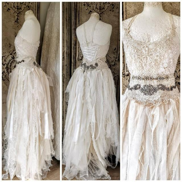 Ethereal wedding dress in 2 pieces, couture statement wedding , alternative wedding in a ragged look
