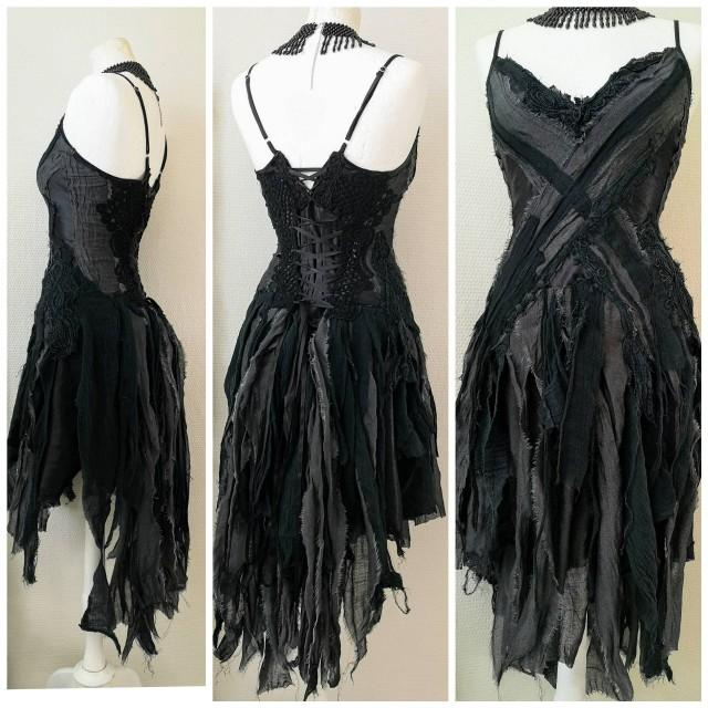 Black goth dress. Witches dress Trashed dress. One of a kind RawRags